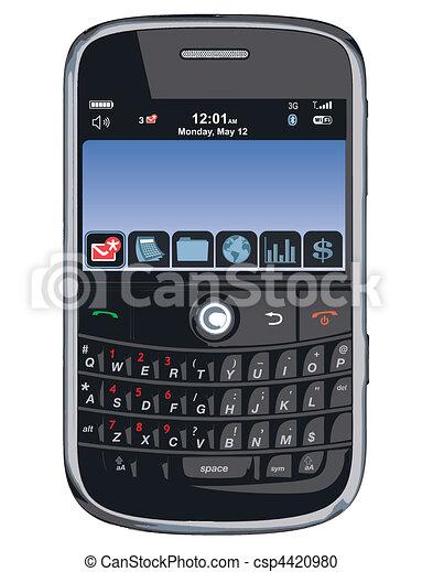 /, téléphone portable, vecteur, pda, /blackberry - csp4420980
