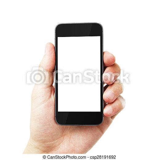 téléphone portable, vide, main - csp28191692
