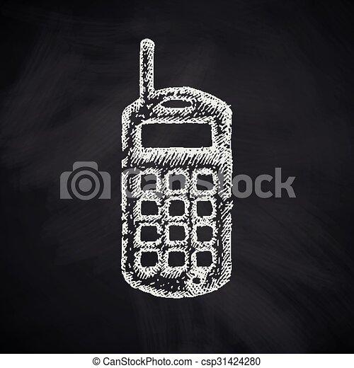 téléphone portable, vieux, icône - csp31424280