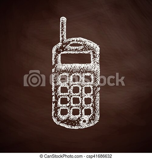 téléphone portable, vieux, icône - csp41686632