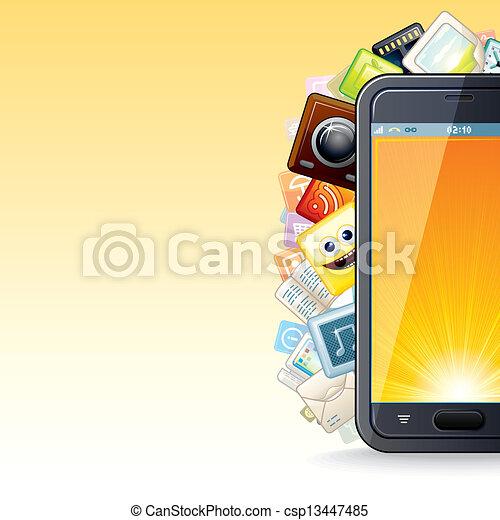 téléphone, poster., intelligent, illustration, apps - csp13447485