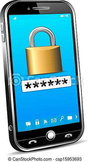 téléphone, sécurité, concept - csp15953693