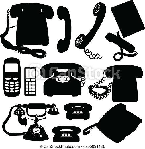 téléphone, silhouettes, vecteur - csp5091120