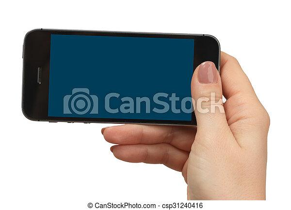 téléphone, tenue, isolé, main femelle - csp31240416