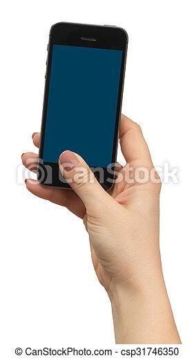 téléphone, tenue, isolé, main femelle - csp31746350