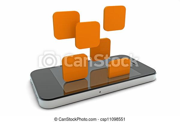 téléphone, tomber, apps, intelligent - csp11098551