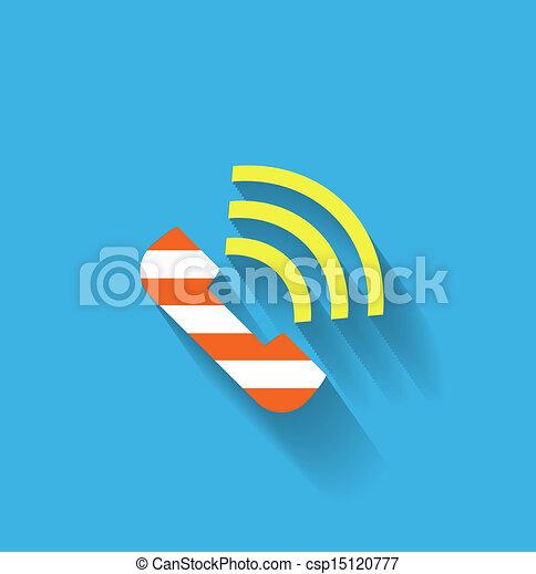 téléphone, vecteur, plat, icône - csp15120777
