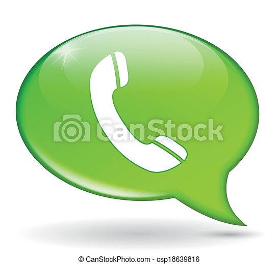téléphone, vert, bulle - csp18639816