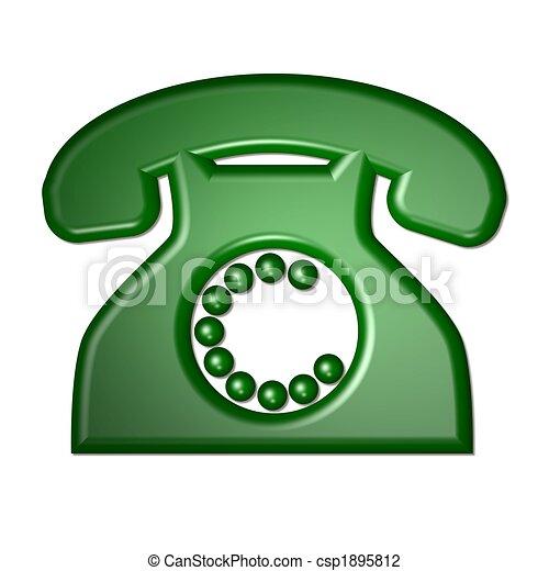 téléphone, vert, isolé - csp1895812