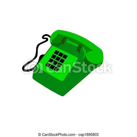 téléphone, vert, isolé - csp1895803