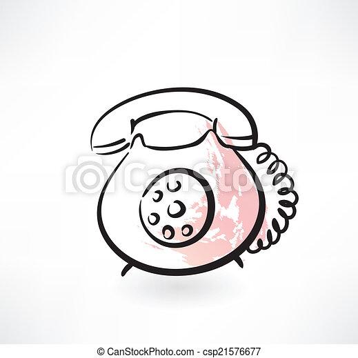 téléphone, vieux, grunge, icône - csp21576677
