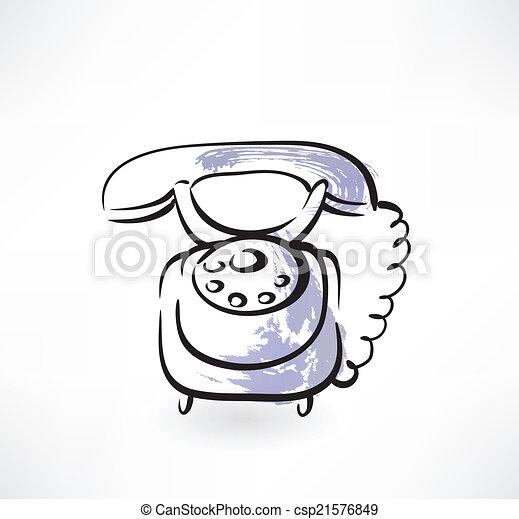 téléphone, vieux, grunge, icône - csp21576849