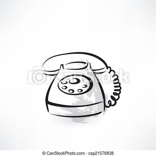 téléphone, vieux, grunge, icône - csp21576838