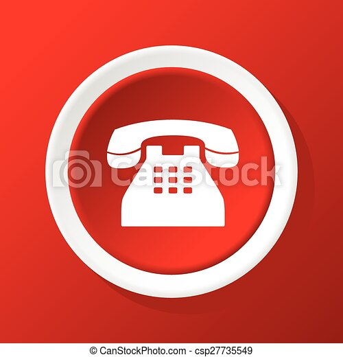 téléphone, vieux, rouges, icône - csp27735549