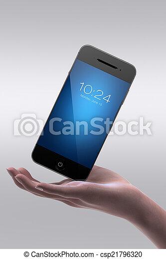 téléphoner femme, tenue, intelligent, main - csp21796320