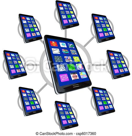 téléphones, apps, réseau, intelligent, communiquer - csp6017360
