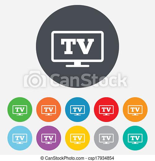 téléviseur, tv, widescreen, symbole., signe, icon. - csp17934854