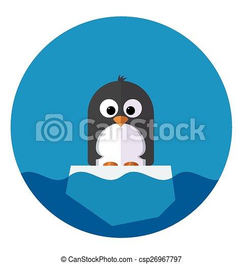 La ilustración del Pingüino en un témpano de hielo - csp26967797