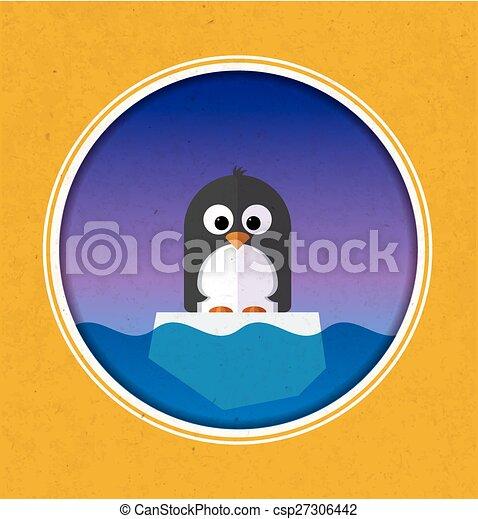 La ilustración del Pingüino en un témpano de hielo - csp27306442