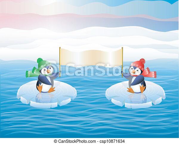 Pingüinos sobre hielo - csp10871634