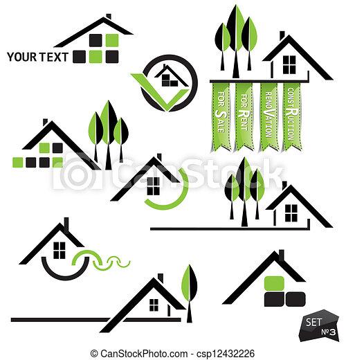 tényleges, állhatatos, természetes, birtok, ügy icons, épület, alapismeretek, háttér., fehér - csp12432226