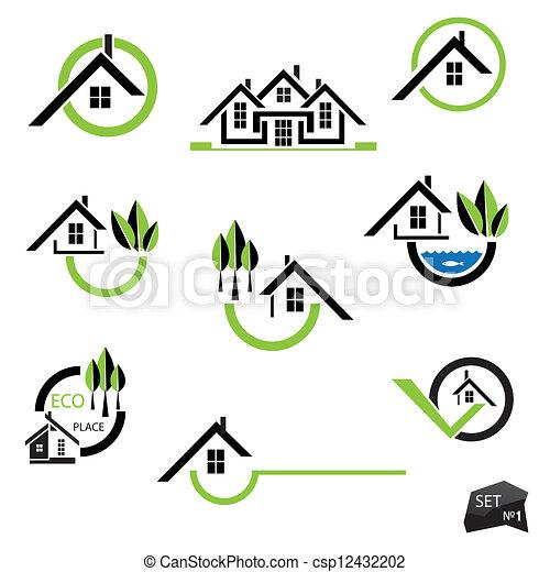 tényleges, állhatatos, természetes, birtok, ügy icons, épület, alapismeretek, háttér., fehér - csp12432202