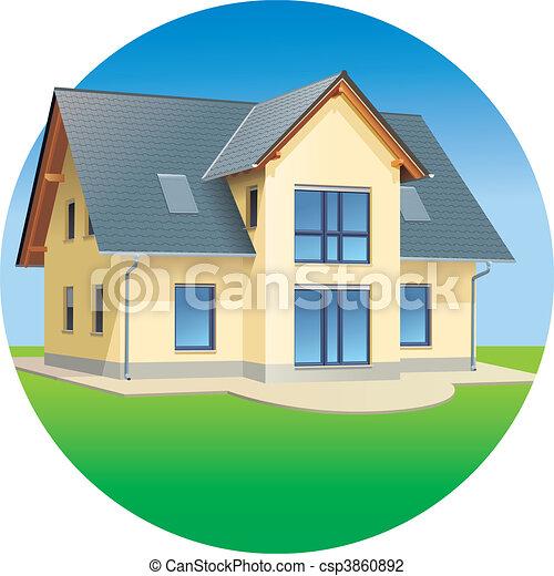 tényleges, épület, -, telep, tartózkodási - csp3860892