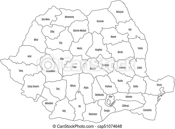 Terkep Attekintes Romania Vektor Fekete Hig Hatter Feher