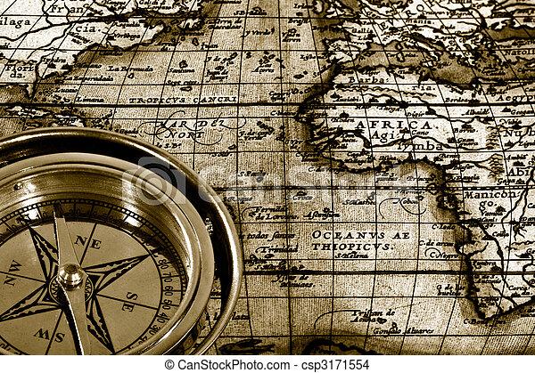 térkép, élet, kaland, iránytű, haditengerészet, mozdulatlan, retro - csp3171554