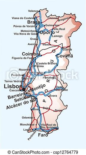 Terkep Ut Portugalia Terkep Legfontosabb Portugalia Editable