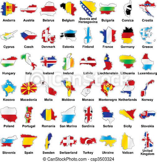 térkép, alakít, zászlók, részletek, európai - csp3503324