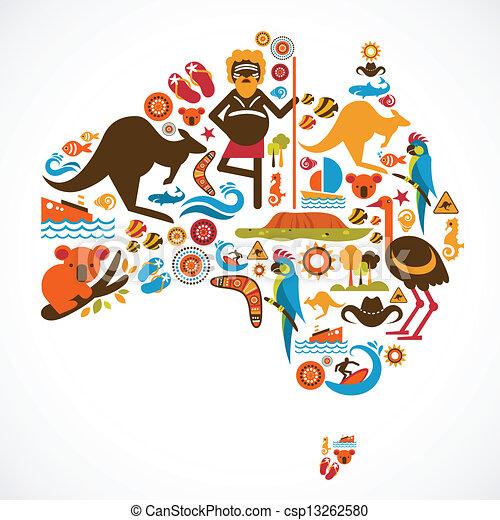 térkép, ausztrália - csp13262580