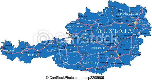 Terkep Ausztria Reszletes Terkep Legfontosabb Videk Magasan
