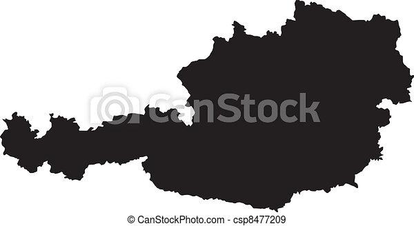 térkép, ausztria, vektor, ábra - csp8477209