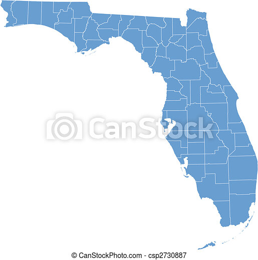 térkép, florida, megyék - csp2730887