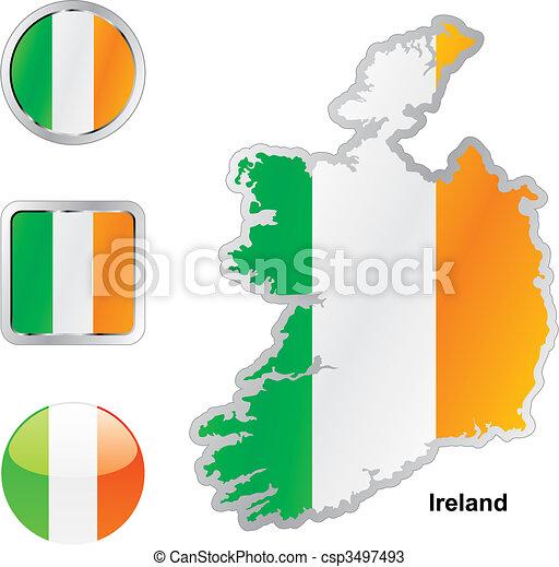térkép, háló, gombok, lobogó, írország, alakzat - csp3497493