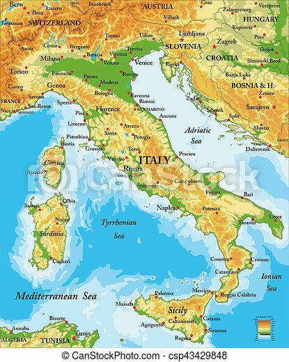 olaszország domborzati térkép Térkép, olaszország, megkönnyebbülés. Részletes, térkép, minden  olaszország domborzati térkép