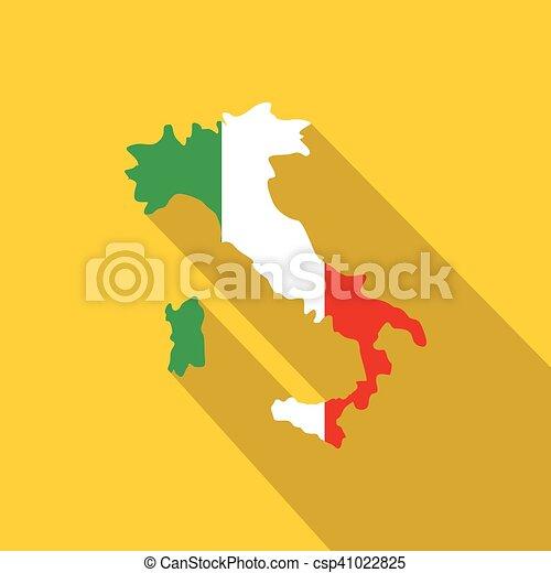térkép, olaszország, nemzeti lobogó, befest, ikon - csp41022825