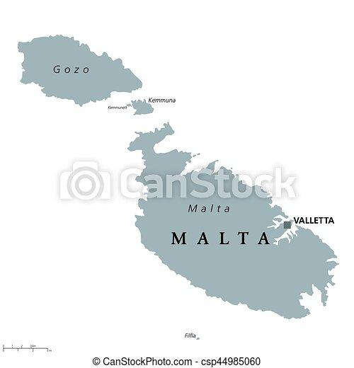 Terkep Politikai Malta Valletta Europa White Vektor