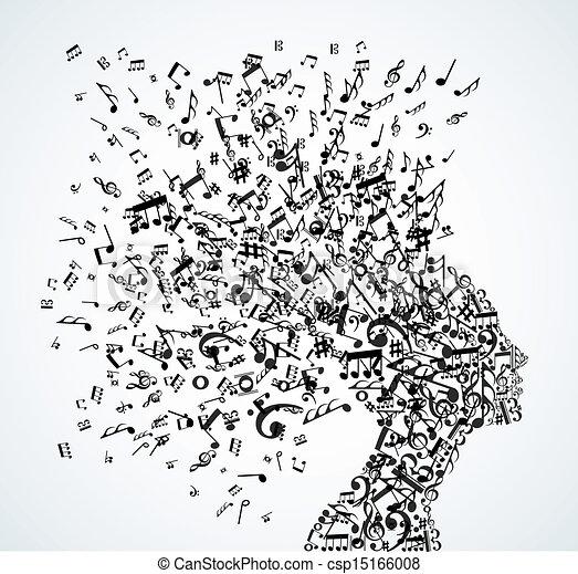 tête, éclaboussure, musique note, femme - csp15166008