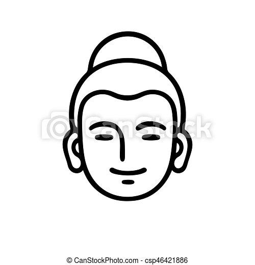 Tete Bouddha Tete Illustration Simple Zen Symbole Ou
