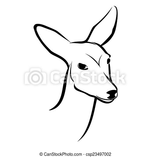 T te chevreuil illustration arri re plan vecteur blanc - Comment dessiner un cerf ...