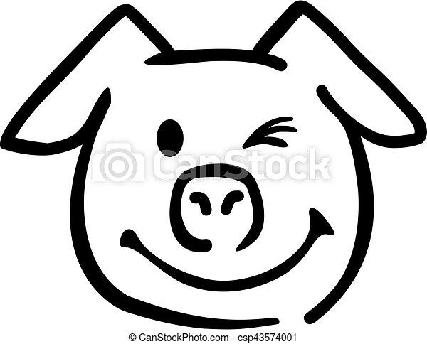 T te cochon clignotement - Tete de cochon a colorier ...
