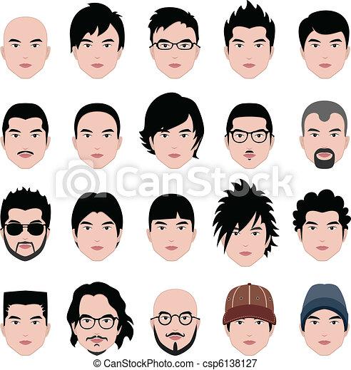 tête, coiffure, figure, cheveux, mâle, homme - csp6138127