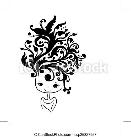 tête, coiffure, silhouette, conception, femme, floral, ton - csp25327857