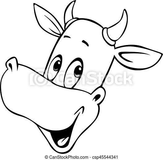 Tete Contour Vache Illustration Vecteur Noir Blanc Dessin