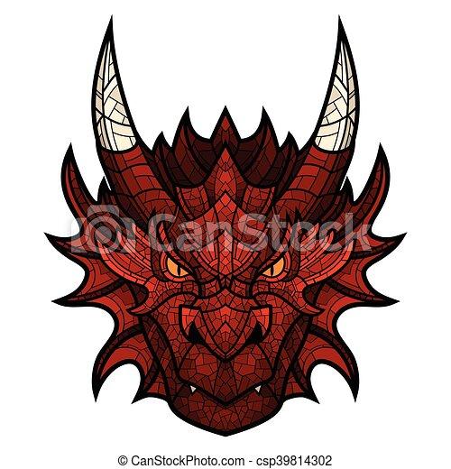 T te couleur dragon style mosa que mascotte t te graphique couleur isol illustration - Dessin de tete de dragon ...