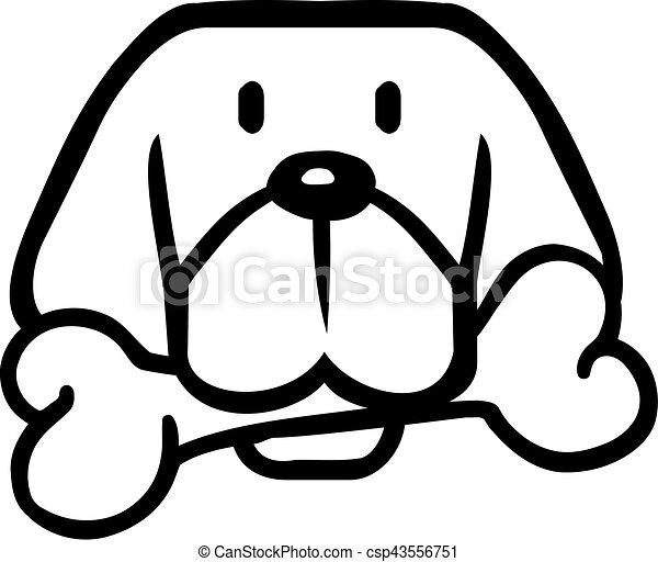 T te dessin anim os chien clipart vectoriel - Dessin tete de chien ...