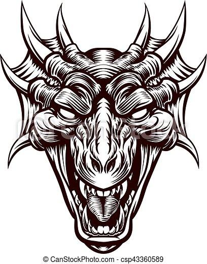 T te dragon d mon monstre figure gravure t te monstre woodcut vendange style - Dessin de tete de dragon ...