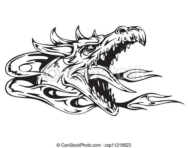 T te dragon illustration dragon vecteur noir head blanc - Dessin de tete de dragon ...